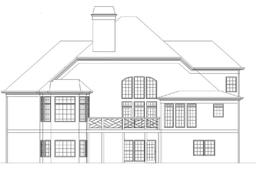 Home Plan Rear Elevation of this 4-Bedroom,3155 Sq Ft Plan -106-1121
