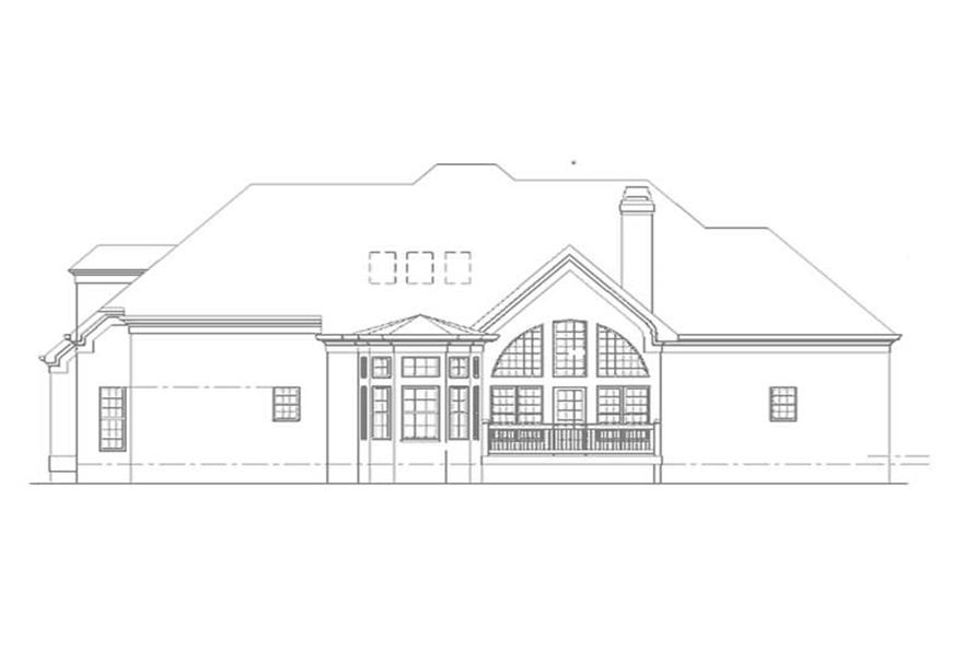 Home Plan Rear Elevation of this 3-Bedroom,2571 Sq Ft Plan -106-1123