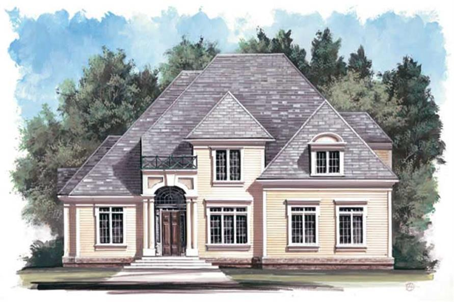 Color rendering of European home plan (ThePlanCollection: House Plan #106-1124)