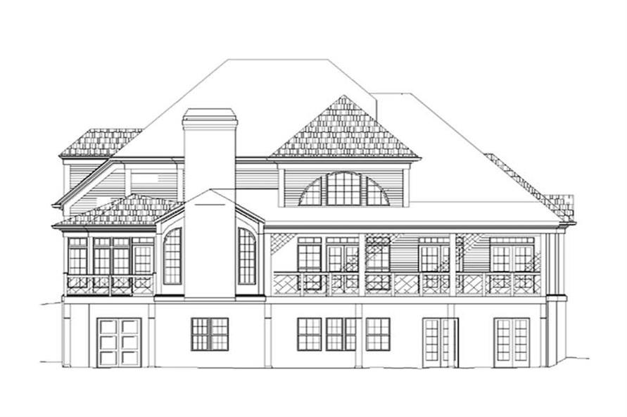 Home Plan Rear Elevation of this 4-Bedroom,2547 Sq Ft Plan -106-1124