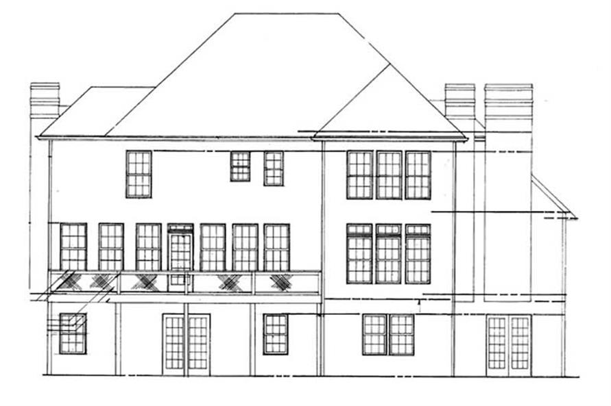 Home Plan Rear Elevation of this 4-Bedroom,2491 Sq Ft Plan -106-1125