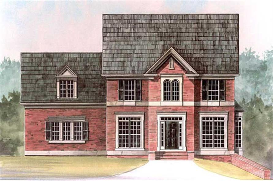 Front elevation of European home (ThePlanCollection: House Plan #106-1128)