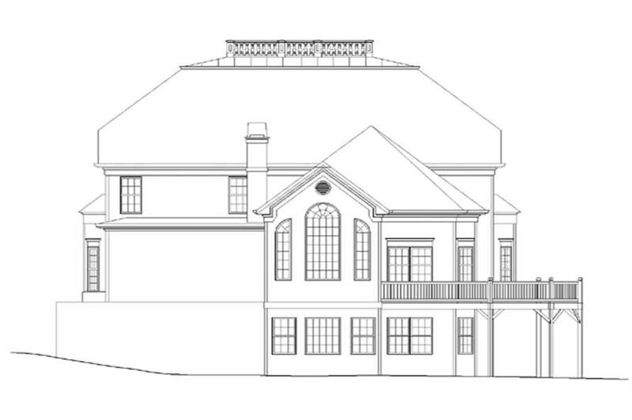 Home Plan Rear Elevation of this 4-Bedroom,3265 Sq Ft Plan -106-1130