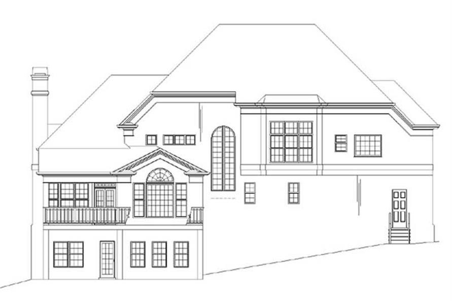 Home Plan Rear Elevation of this 4-Bedroom,3247 Sq Ft Plan -106-1133