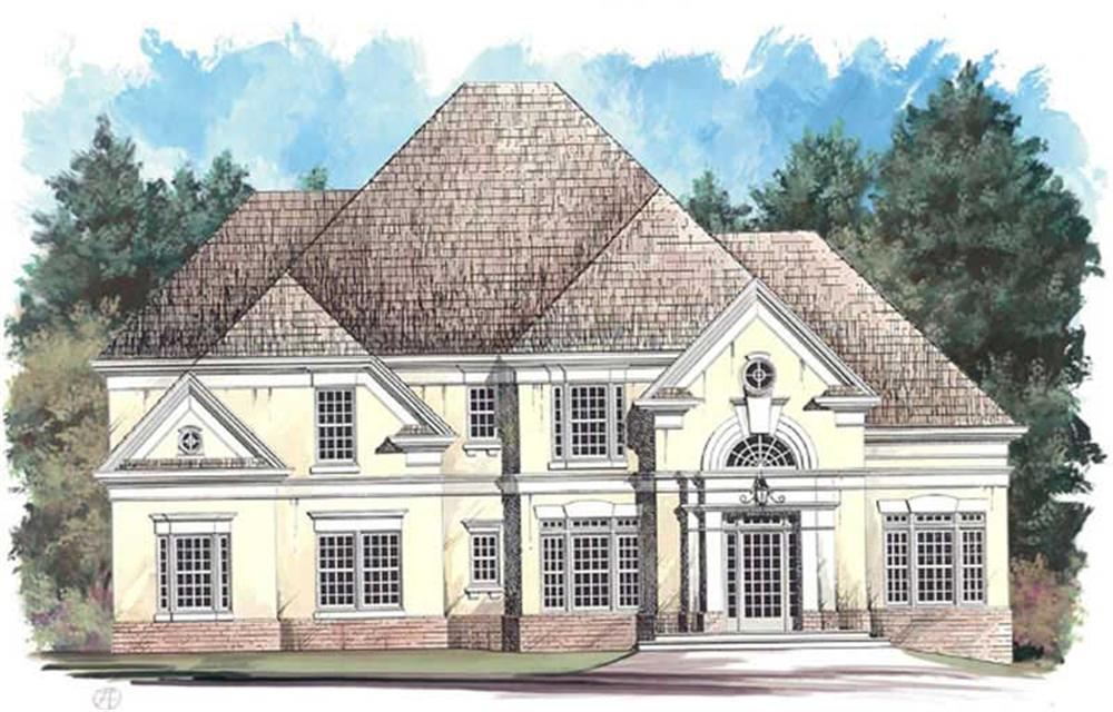 Front elevation of European home (ThePlanCollection: House Plan #106-1134)