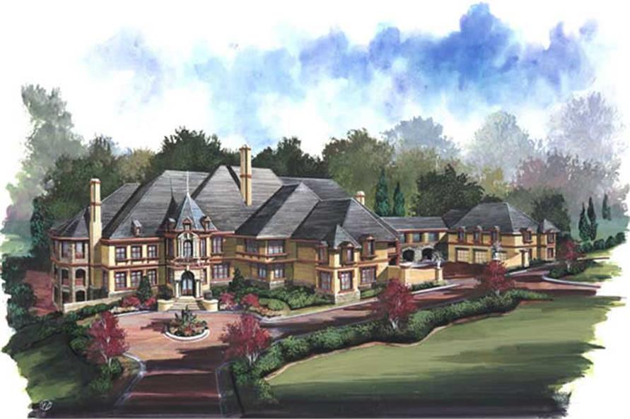 Home Plan Rendering of this 6-Bedroom,7618 Sq Ft Plan -106-1147