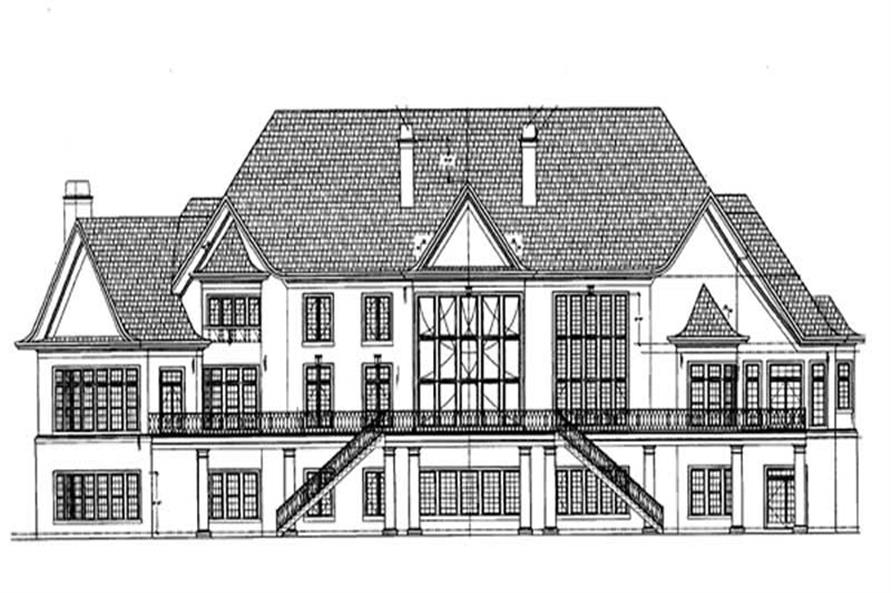 Home Plan Rear Elevation of this 5-Bedroom,6970 Sq Ft Plan -106-1152