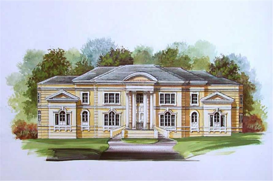 FRONT ELEVATION of this 4-Bedroom,6076 Sq Ft Plan -6076