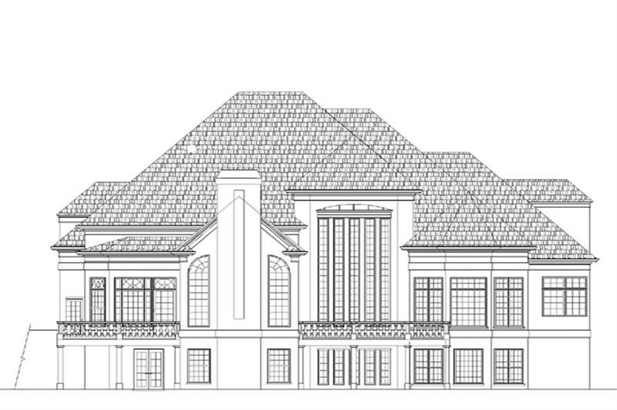 Home Plan Rear Elevation of this 5-Bedroom,4553 Sq Ft Plan -106-1157