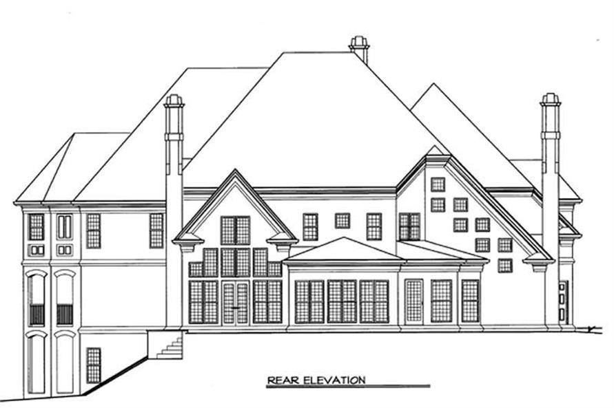Home Plan Rear Elevation of this 5-Bedroom,4591 Sq Ft Plan -106-1158