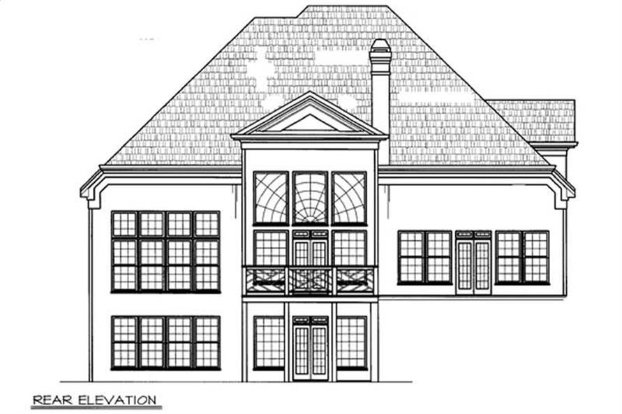 Home Plan Rear Elevation of this 4-Bedroom,2707 Sq Ft Plan -106-1163