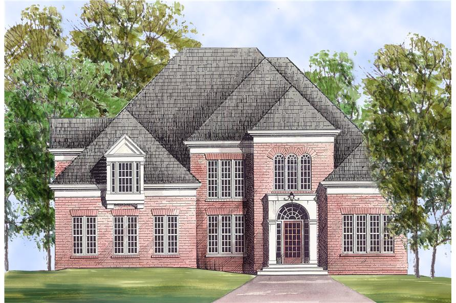 Home Plan Front Elevation of this 4-Bedroom,2707 Sq Ft Plan -106-1163