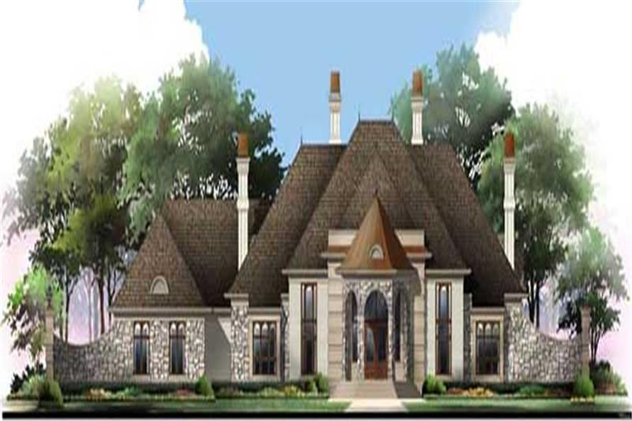 Home Plan Front Elevation of this 4-Bedroom,5082 Sq Ft Plan -106-1165