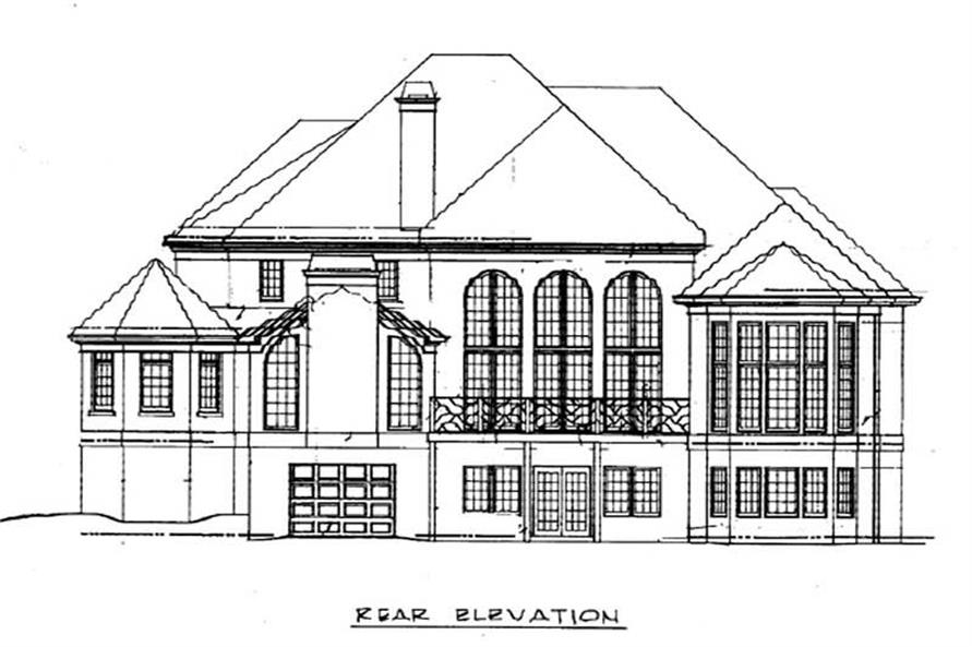 Home Plan Rear Elevation of this 4-Bedroom,3542 Sq Ft Plan -106-1168