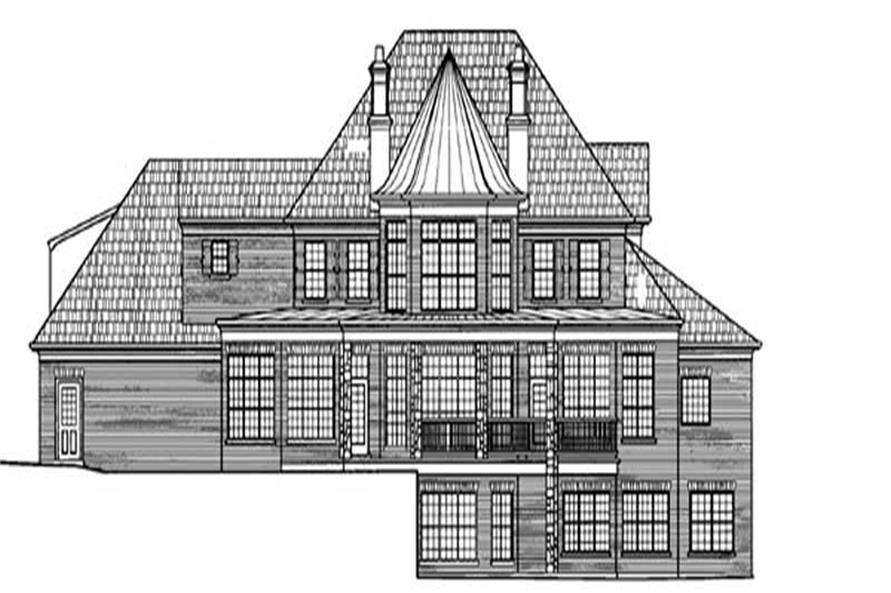 Home Plan Rear Elevation of this 4-Bedroom,3912 Sq Ft Plan -106-1169