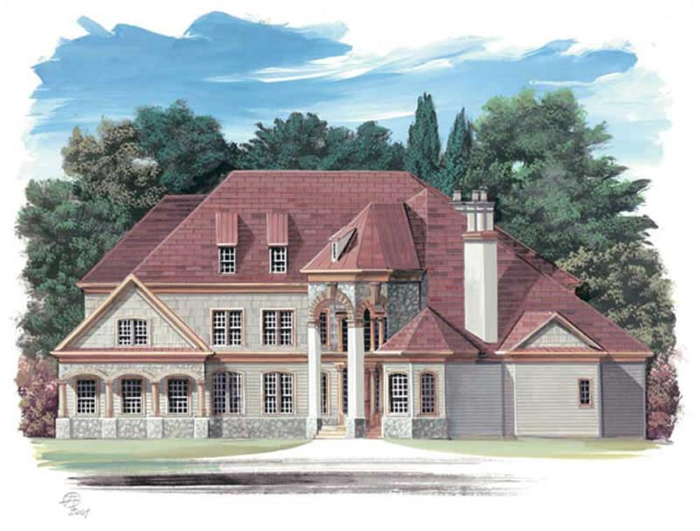 Front elevation of European home (ThePlanCollection: House Plan #106-1170)