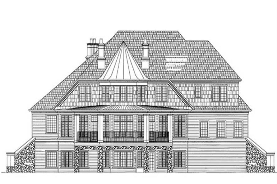 Home Plan Rear Elevation of this 3-Bedroom,2979 Sq Ft Plan -106-1170