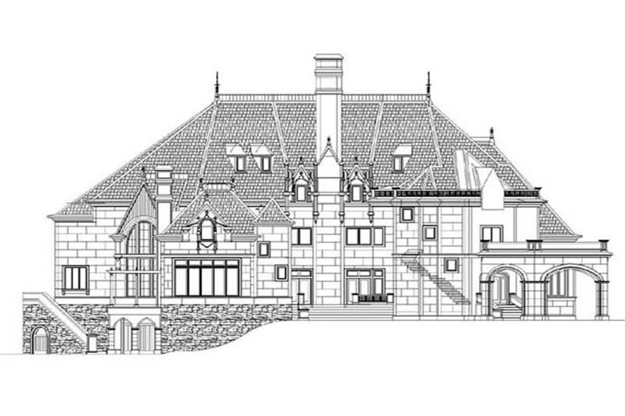 Home Plan Rear Elevation of this 6-Bedroom,7236 Sq Ft Plan -106-1171