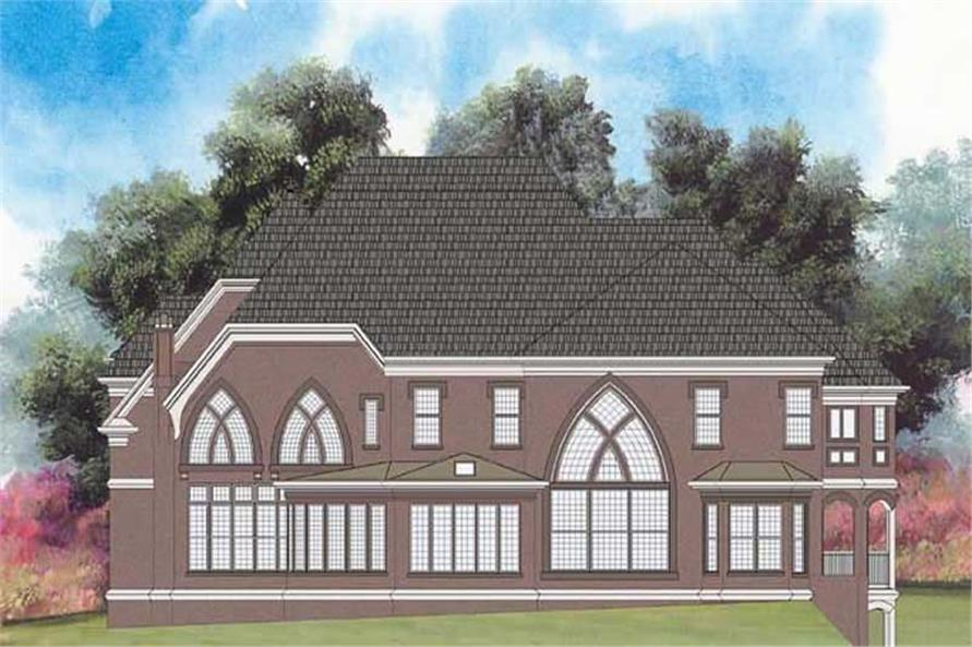 Home Plan Rear Elevation of this 5-Bedroom,3698 Sq Ft Plan -106-1173
