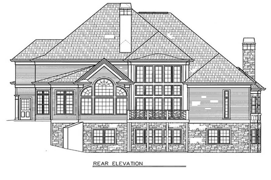 Home Plan Rear Elevation of this 4-Bedroom,3255 Sq Ft Plan -106-1175