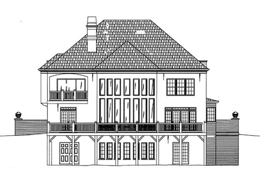 Home Plan Rear Elevation of this 5-Bedroom,3073 Sq Ft Plan -106-1176