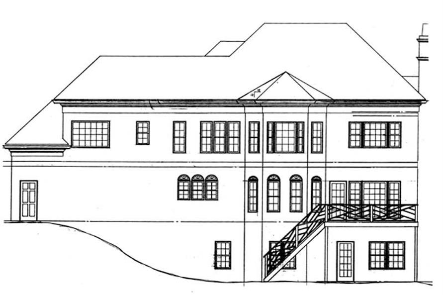 Home Plan Rear Elevation of this 4-Bedroom,2996 Sq Ft Plan -106-1181