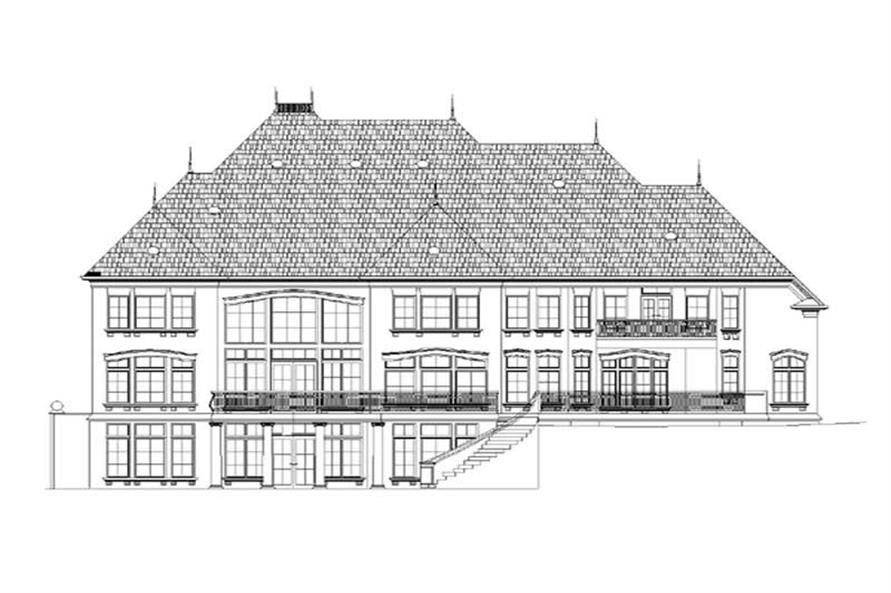 Home Plan Rear Elevation of this 5-Bedroom,5701 Sq Ft Plan -106-1184