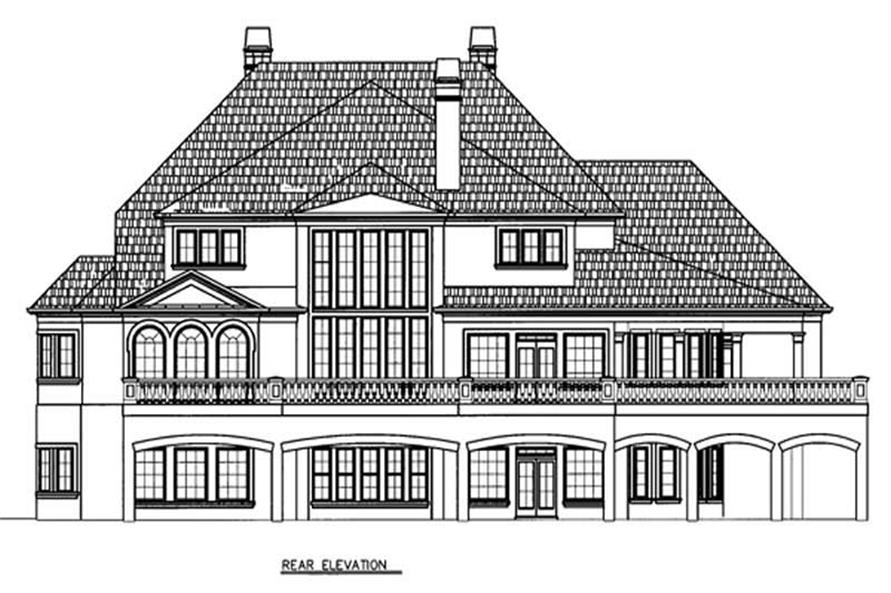 Home Plan Rear Elevation of this 5-Bedroom,5691 Sq Ft Plan -106-1185