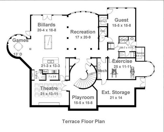 Colonial European Home with 5 Bdrms 5691 Sq Ft Floor Plan 106 1185