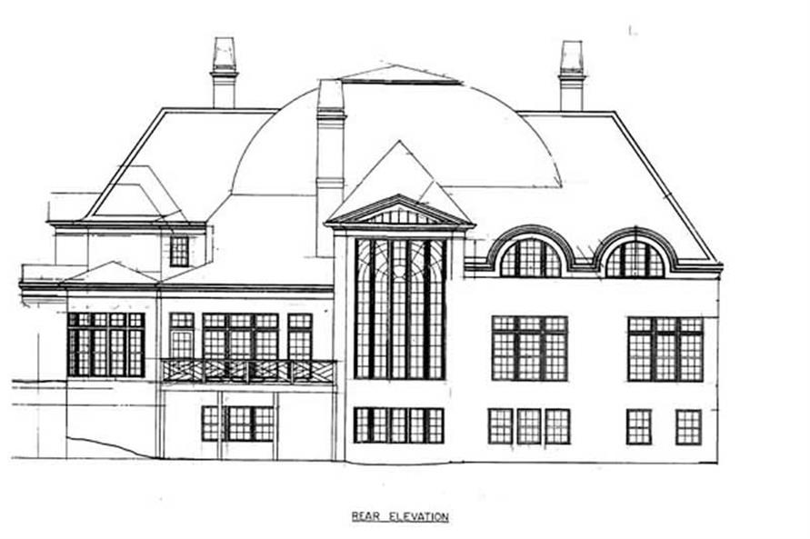 Home Plan Rear Elevation of this 4-Bedroom,5452 Sq Ft Plan -106-1187