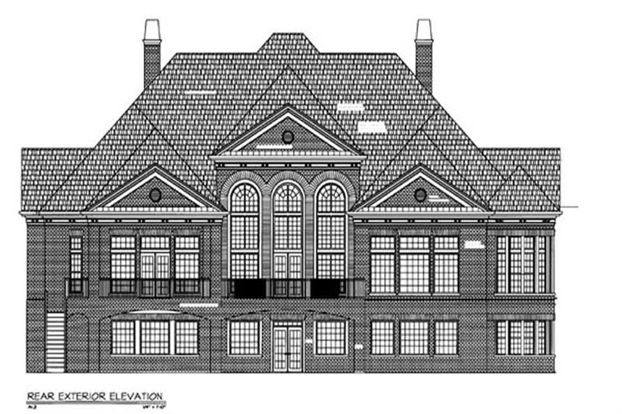 Home Plan Rear Elevation of this 3-Bedroom,5282 Sq Ft Plan -106-1188