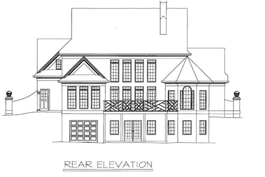 Home Plan Rear Elevation of this 4-Bedroom,2773 Sq Ft Plan -106-1193