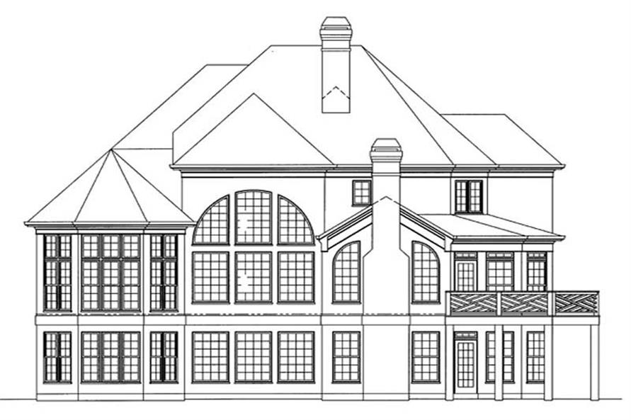 Home Plan Rear Elevation of this 4-Bedroom,3065 Sq Ft Plan -106-1194