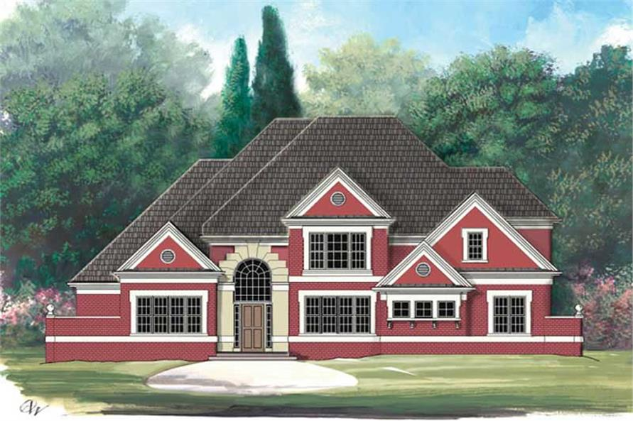 Front elevation of European home (ThePlanCollection: House Plan #106-1201)