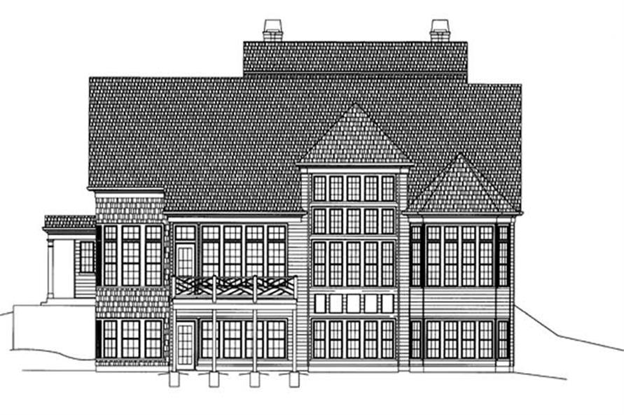 Home Plan Rear Elevation of this 4-Bedroom,3159 Sq Ft Plan -106-1202