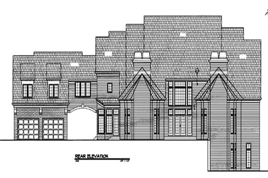 Home Plan Rear Elevation of this 4-Bedroom,4589 Sq Ft Plan -106-1207
