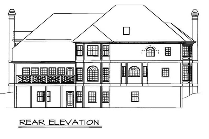 Home Plan Rear Elevation of this 4-Bedroom,3266 Sq Ft Plan -106-1211