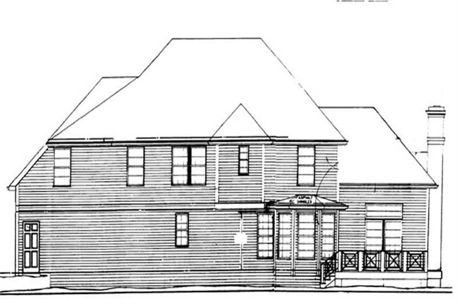 Home Plan Rear Elevation of this 4-Bedroom,2261 Sq Ft Plan -106-1217