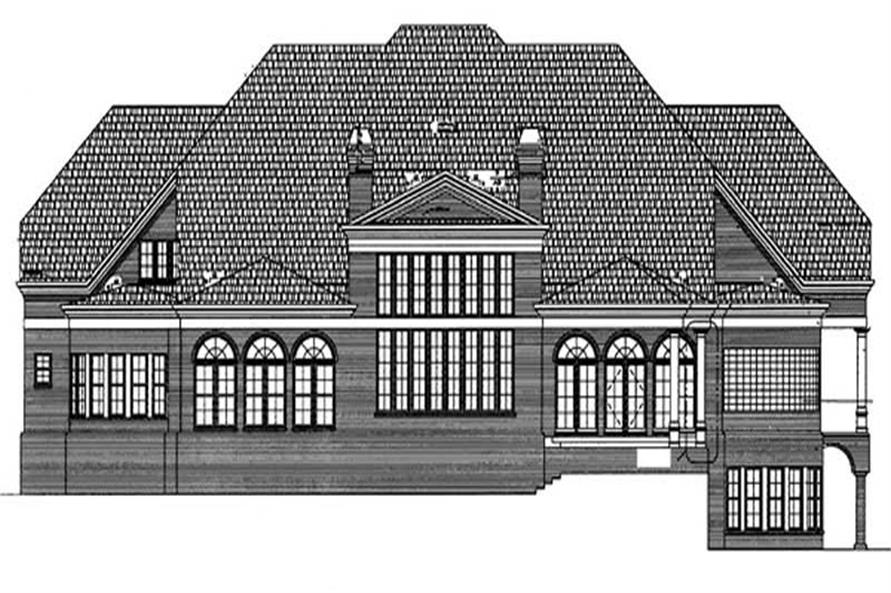 Home Plan Rear Elevation of this 5-Bedroom,6095 Sq Ft Plan -106-1223