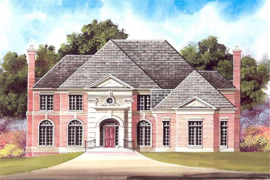 4-Bedroom, 3324 Sq Ft European House Plan - 106-1227 - Front Exterior