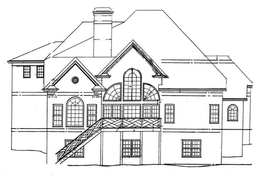 Home Plan Rear Elevation of this 5-Bedroom,3152 Sq Ft Plan -106-1235