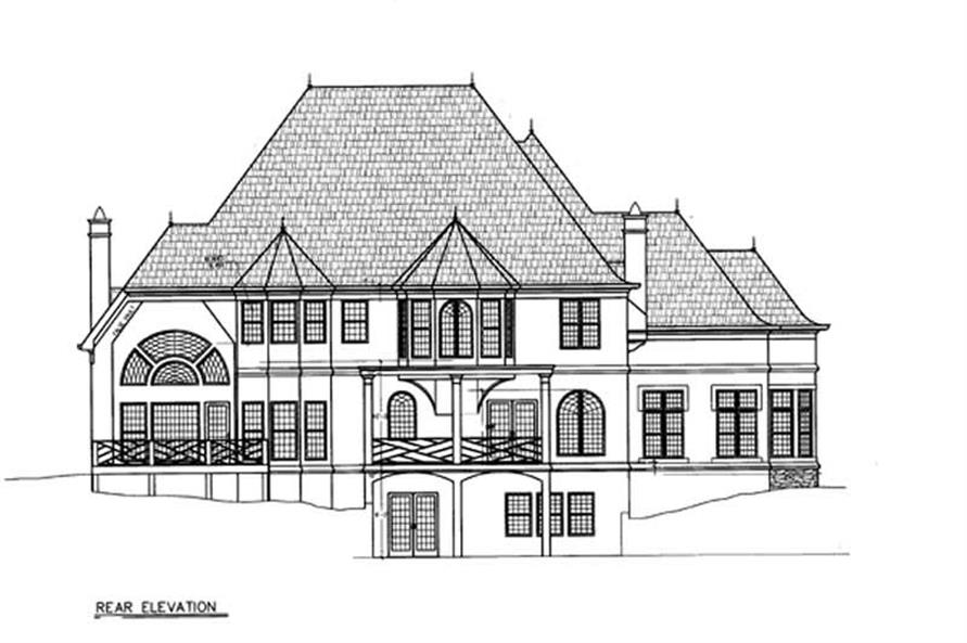 Home Plan Rear Elevation of this 4-Bedroom,3966 Sq Ft Plan -106-1237