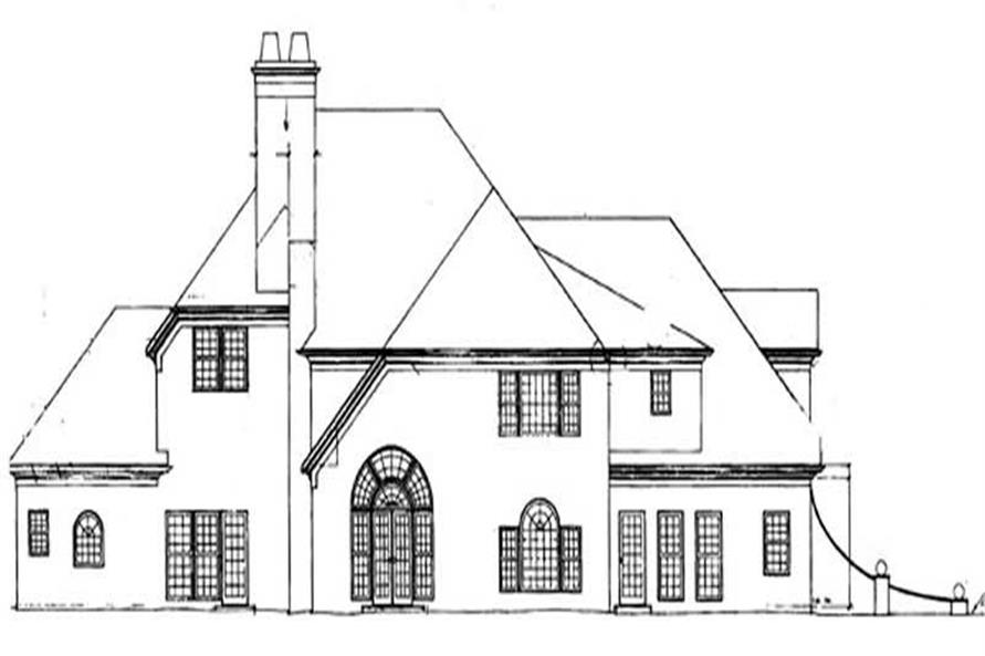 Home Plan Rear Elevation of this 4-Bedroom,3543 Sq Ft Plan -106-1240