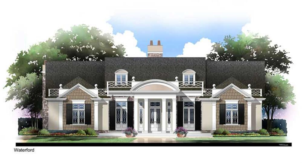Front elevation of European home (ThePlanCollection: House Plan #106-1249)