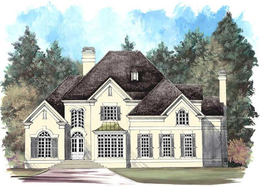 Front elevation of European home (ThePlanCollection: House Plan #106-1252)