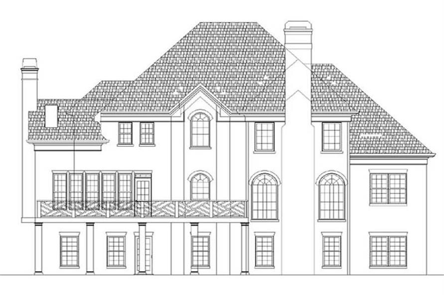 Home Plan Rear Elevation of this 4-Bedroom,2861 Sq Ft Plan -106-1252
