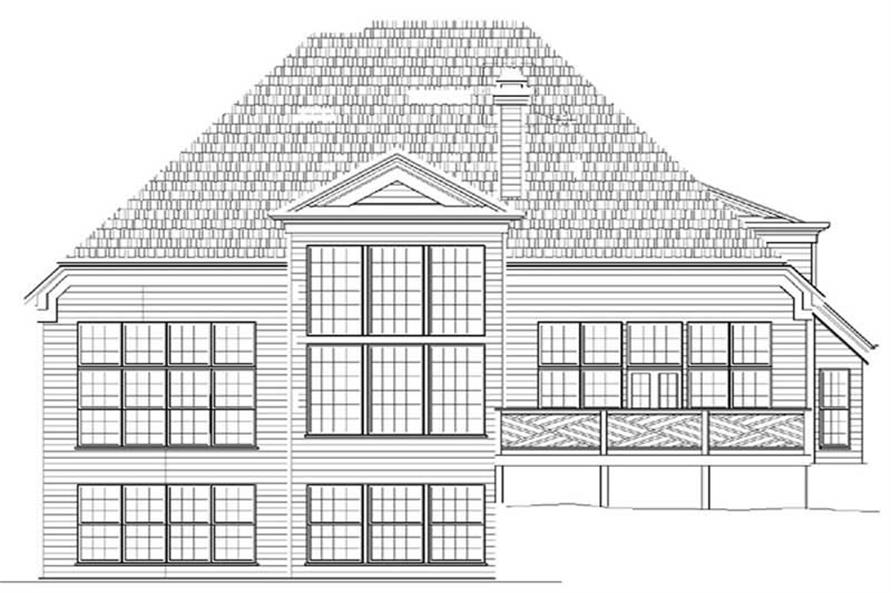 Home Plan Rear Elevation of this 4-Bedroom,2870 Sq Ft Plan -106-1254