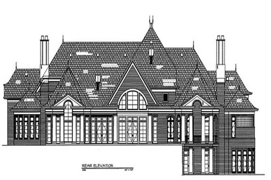 Home Plan Rear Elevation of this 5-Bedroom,6712 Sq Ft Plan -106-1255