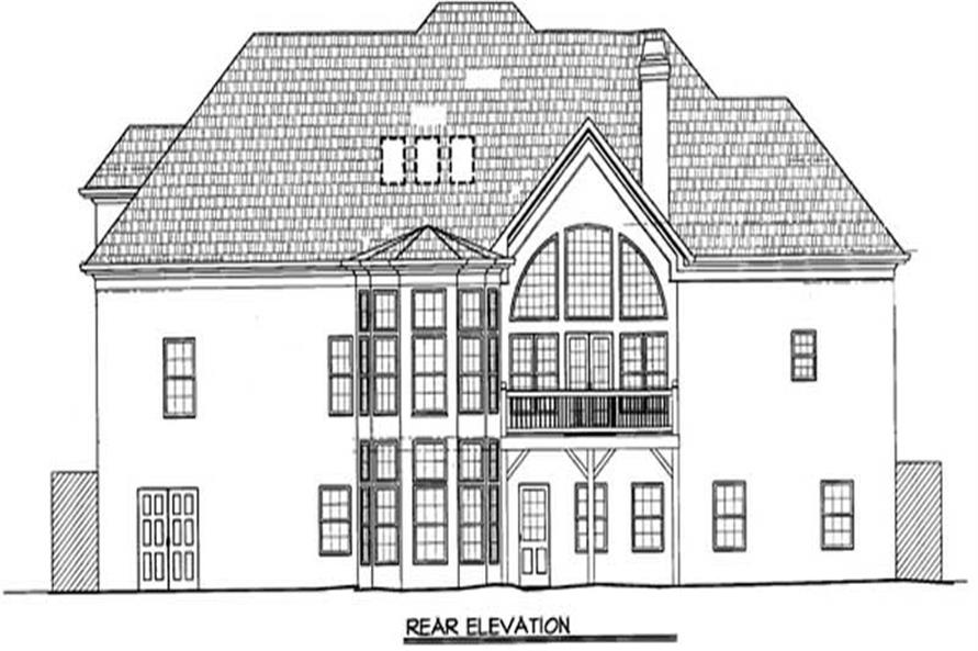 Home Plan Rear Elevation of this 4-Bedroom,2832 Sq Ft Plan -106-1257