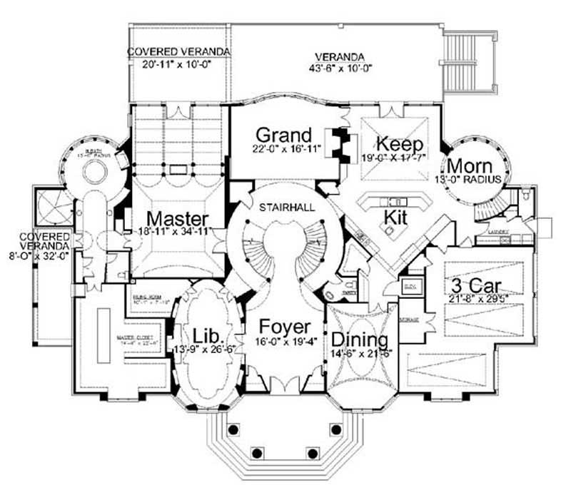 Big Luxury House Plans: Colonial - Luxury Home With 4 Bdrms, 8100 Sq Ft